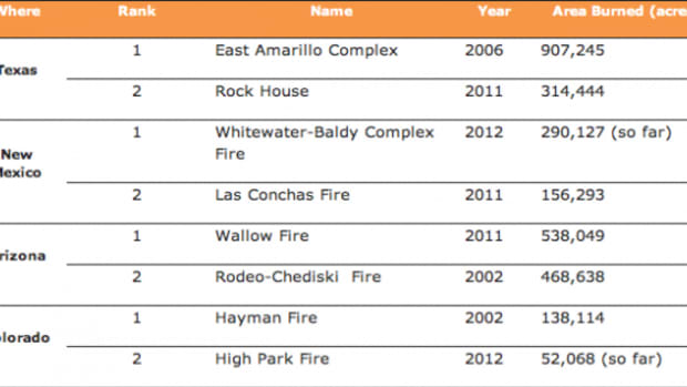 The Whitewater-Baldy wildfire is the largest in New Mexico history as of 2012.