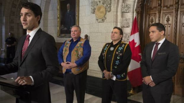 Trudeau and indigenous leaders on Parliament Hill December 2016