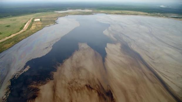 A tailings pond in the Alberta oil sands. A new study has found that pollution from these ponds is vastly underreported.