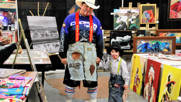 Indian National Finals Rodeo Art Show with Riley Dodging Horse and son, INFR Bull Fighter.