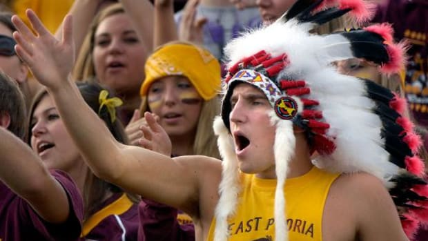 Faux headdresses and the Indian caricature-perpetuating tomahawk chop is common at Cleveland Indians and Florida State Seminole games.