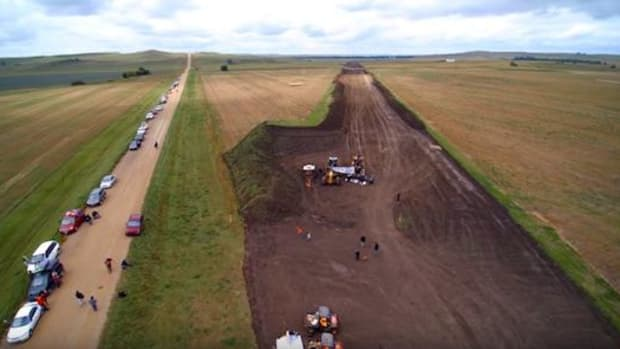 An aerial view of the wound gouged through Sioux burial grounds by Dakota Access pipeline workers over Labor Day weekend 2016.