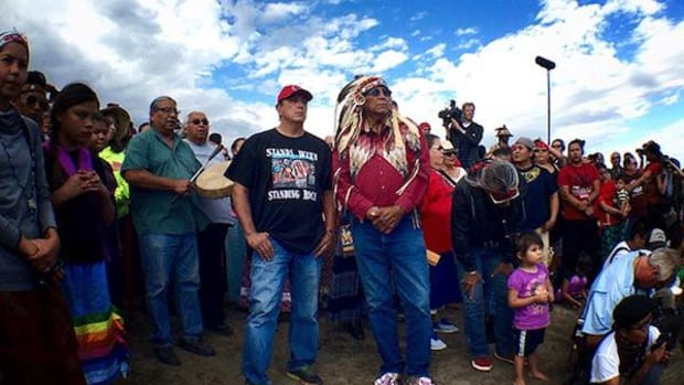 Standing Rock Sioux Chairman Archambault (left) and Chief Arvol Looking Horse.