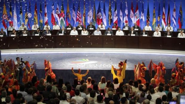 Dancers perform during the opening ceremony of the sixth VI Summit of the Americas in Cartagena, Colombia, Saturday April 14, 2012. The summit brought together presidents and prime ministers from Canada, the Caribbean, Latin America and the U.S.