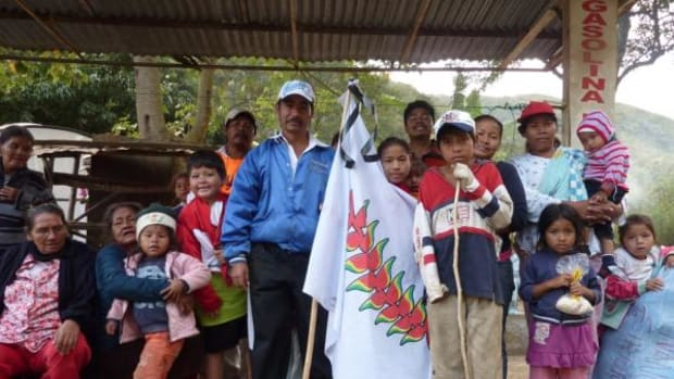Carmelo Sandoval (holding flag) and a group of marchers from an indigenous territory in the Bolivian state of Beni during the National Park and Indigenous Territory Isiboro Secure (TIPNIS) march toward the capital city in June 2012.