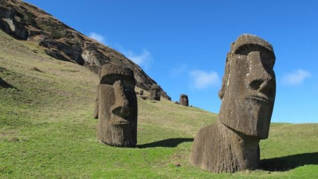 This August 2012 photo shows heads at Rano Raraku, the quarry on Easter Island. The sculptures have bodies attached, but they are buried under the dirt and not visible. About 400 moai are here in various stages of carving. A new study indicates that Native Americans visited Easter Island before Columbus sailed to the Americas.