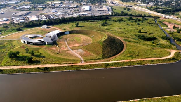 Aerial Photograph looking South - The American Indian Cultural Center and Museum can now resume construction after 23 years of red tape.