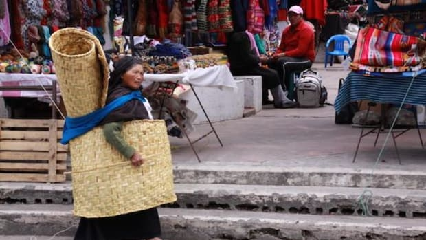 A market in Otavalo, Ecuador. Indigenous tourism can connect cultures.