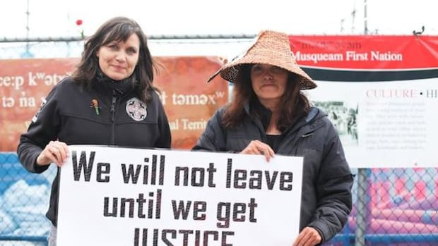 Musqueam nation blockade spokesperson Cecilia Point (left) with her sister Mary Point, launched the protest in March 2012.