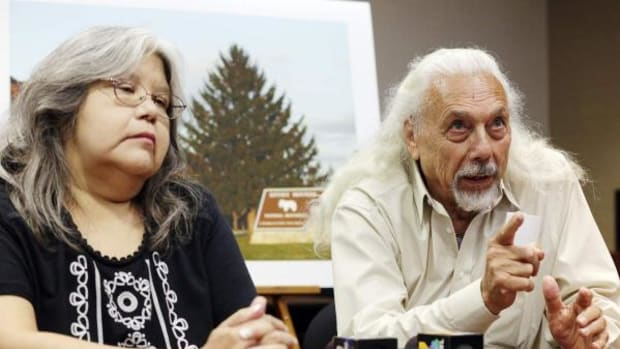Sandra Massey of the Sac and Fox Nation in Oklahoma (left) and Patt Murphy of the Iowa Tribe of Kansas and Nebraska answer questions during a press conference following the sentencing of Thomas Munson at the U.S. Attorney's Office in Cedar Rapids, Iowa on Friday, July 8, 2016.