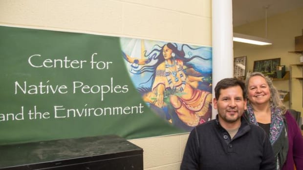 Neil Patterson Jr. and Dr. Robin Kimmerer, of the Center for Native People and the Environment. SUNY ESF provides a place for Native American students to study the environment.