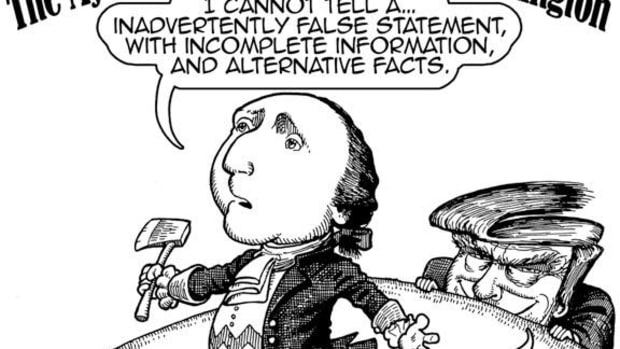 I Can Not Tell an Alternative Fact; Cartoon by Marty Two Bulls