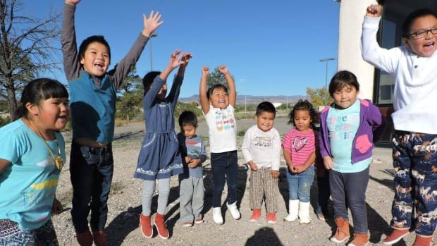 """Students celebrate """"Rock Your Mocs Day"""" at Keres Children's Learning Center, Cochiti Pueblo's first full-immersion school."""