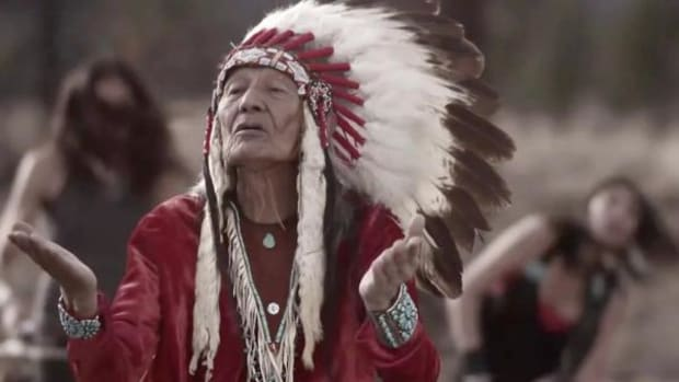 Clayson and Jeneda Benally of Sihasin crank out their percussive brand of Native rock in the video for their single 'Take a Stand.' That's their father, Jones Benally, in the foreground.