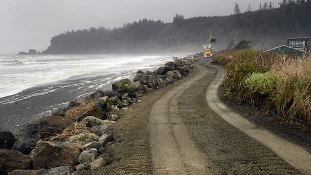 The Tahola Seawall, the only thing standing between the Quinault Indian Nation and the encroaching ocean, stayed firm during punishing storms over the weekend—but only because the tempest was not as strong as expected.