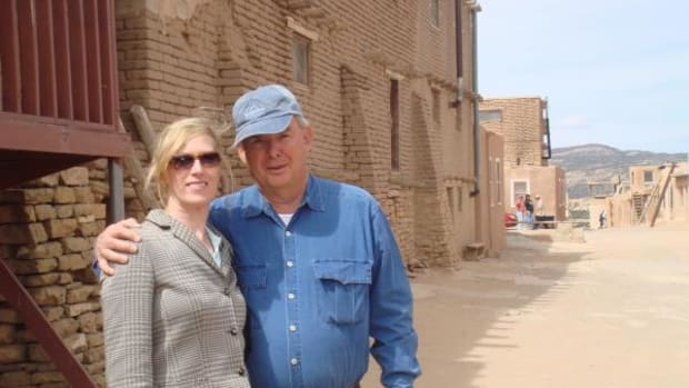 Barbara and Richard Ullman on a trip to Acoma, New Mexico in 2009. During that same trip they also attended the Gathering of Nations.