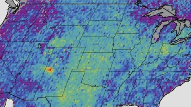 The Four Corners area (red) is the major U.S. hot spot for methane emissions in this map showing how much emissions varied from average background concentrations from 2003-2009 (dark colors are lower than average; lighter colors are higher).
