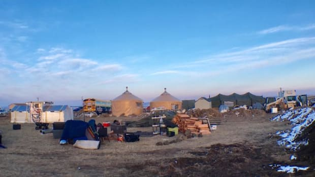 Yurts for medics are among dozens of other dwellings in a camp known as Eagle's Nest, an extension from the Sacred Stone Camp on the Standing Rock Sioux reservation. As of Monday, February 27, medics and others began packing up to leave the months-long movement to try and stop the Dakota Access Pipeline after the Bureau of Indian Affairs issued a trespassing notice to campers.
