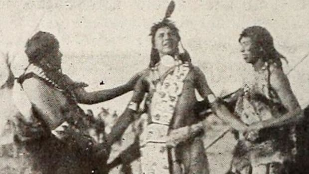 Seneca actor Jesse Cornplanter, a descendant of the 18th-century Seneca war chief and diplomat Cornplanter, played the title role of Hiawatha. Source: Moving Picture News via Archive.org.