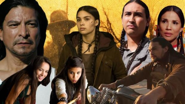 Clockwise from top left: Gil Birmingham in Shouting Secrets, mysterious silhouette from This May Be the Last Time, K. Devery Jacobs in Rhymes for Young Ghouls, Tatanka Means in Tiger Eyes, Tonantzin Carmelo in The Activist, Jason Momoa in Road to Paloma, and Shay Eyre and Cara Gee in Empire of Dirt.