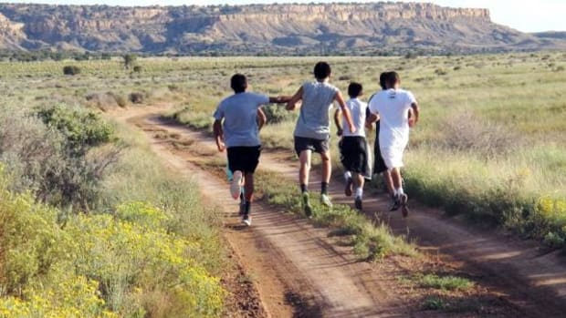 Hopi High School athletes go on a training run in this 2013 picture