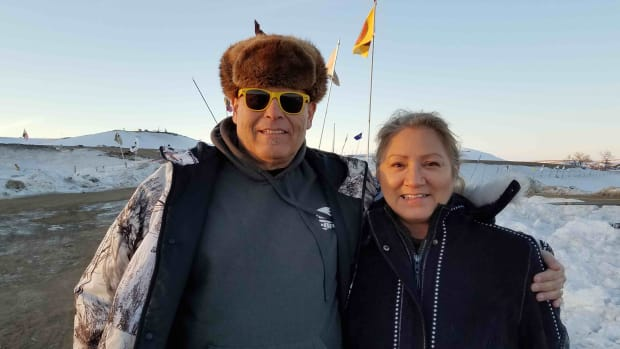 Indian Country Media Network's Op Ed page Editor Ray Cook and wife Tracy Sunday Cook at Standing Rock, February 3, 2017