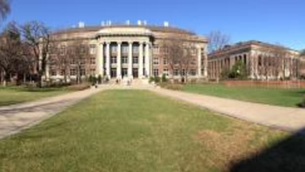 Mall panorama, from left: Ford Hall, Coffman Memorial Union, Kolthoff Hall, Smith Hall (in center of image), Walter Library, Johnston Hall, Northrop, and Morrill Hall