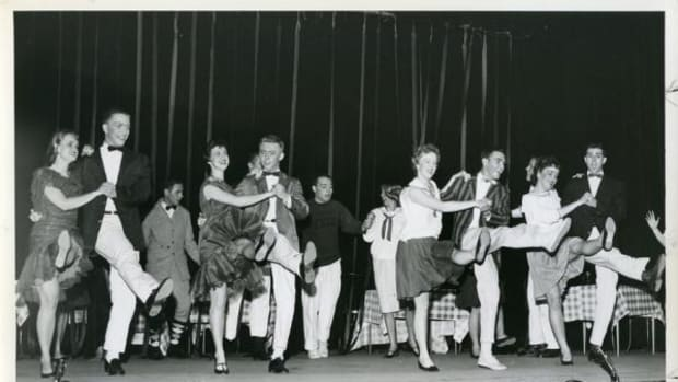 """In 1959 Duke University had not started accepting any students of color yet. This image shows students at """"An Evening With Sigmund Freud"""" Hoof 'n' Horn in 1959"""