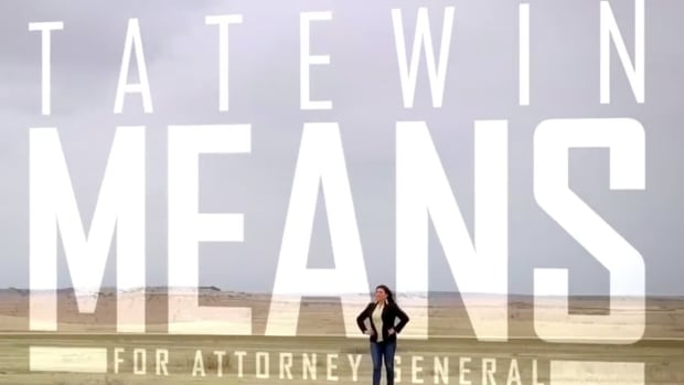 An ad by Tatewin Means for Attorney General. Means has released two versions, one in Lakota and the other in English.