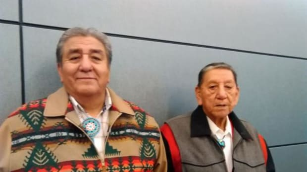 Former Omaha tribal chairman Mitch Parker (left), the named defendant in Nebraska v. Parker, attended the Supreme Court hearing with his brother, Clifford Wolfe.