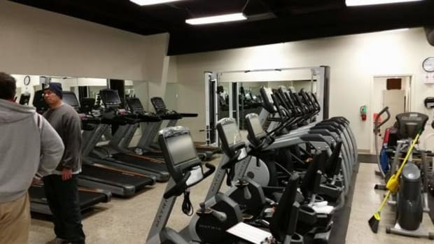 Workout equipment is tightly packed in at the current Osage Nation Fitness Center located at the Hominy Industrial Park.