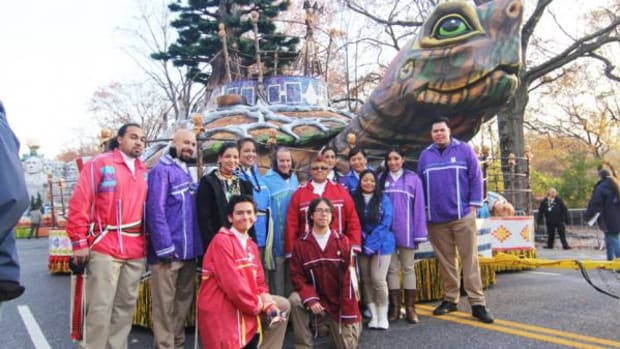 The Oneida Nation's Float and Native representatives (Cliff Matias)