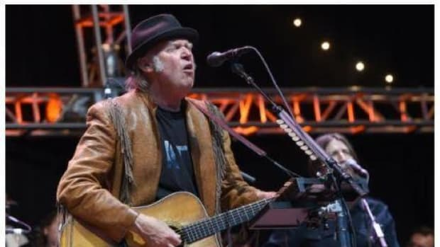 Neil Young performs during the 30th Anniversary Bridge School Benefit Concert at Shoreline Amphitheater on October 23, 2016 in Mountain View, California.