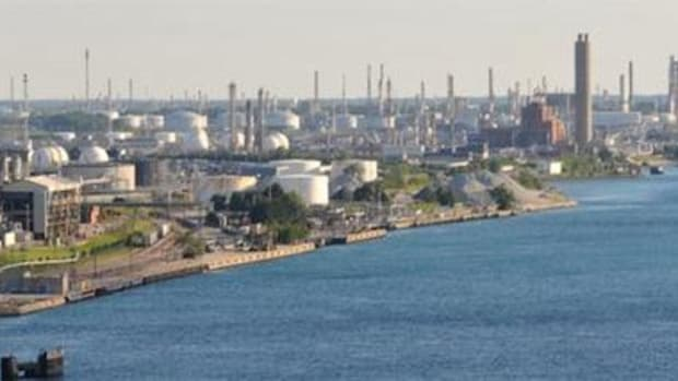 Part of the industrial area in Sarnia, Ontario, Canada, that the Aamjiwnaang community on Lake Huron lives downstream from. Estrogen-blocking chemicals have been found in the First Nation's mothers and children.