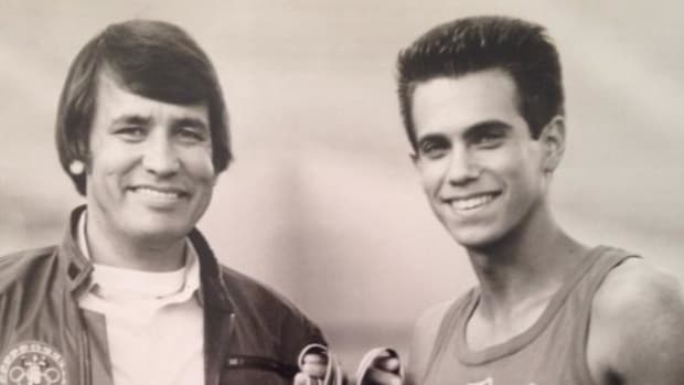 Billy Mills, left, with Robby Benson during the filming of 'Running Brave.' Photo courtesy Indiana University.