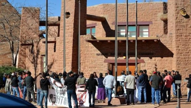 Navajo families from the Hopi Partition Lands walked to Navajo Council chambers on October 30 to tell President Ben Shelly about the confiscation of their livestock from Hopi Partition Land.