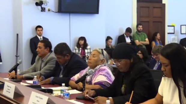 Left to right, Standing Rock Sioux Chairman David Archambault II, Cheyenne River Sioux Chairman Harold Frazier, Lakota elder Faith Spotted Eagle, Apache Stronghold founder Wendsler Nosie Sr., and youth representative Gracey Claymore speak to Democratic U.S. Representatives at a forum on Thursday September 22.