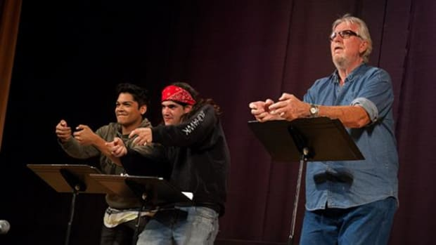 Actors Spencer Battiest, Maxton Scott, and Tom Allard reading 'Champ' by Lucas Rowley, Inupiaq, at the Short Plays Festival at The Autry. (Maria Brunner Ventura)