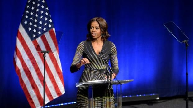 First Lady Michelle Obama speaks at the launch of the mental health initiative Campaign to Change Direction at the Newseum in Washington, D.C., March 4, 2015. The first lady, who co-founded the Joining Forces military community mental health program, spoke about the campaign's importance for the military community. The campaign is led by Give an Hour, which has a network of 7,000 mental health professionals who provide pro bono services to veterans.