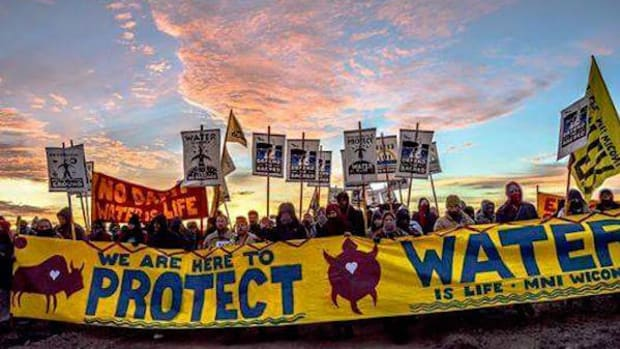 Water protectors hold the line with new camp in pipeline's path, citing treaty rights.