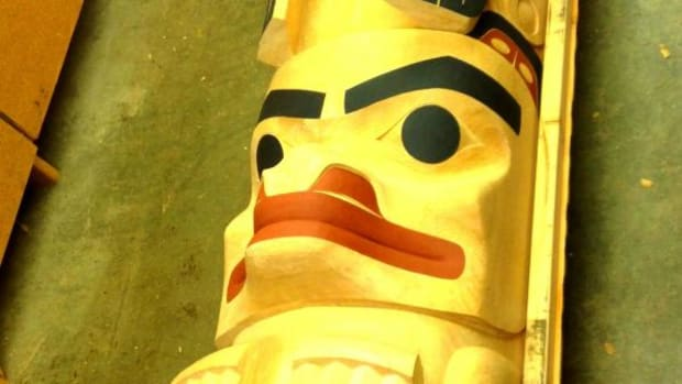 This totem pole, carved by David Boxley, Tsimshian, of Alaska, will be unveiled in a Totem Pole Raising Ceremony at the Native American Center, at Fort Lewis College, in Durango, Colorado. (Photo courtesy Native American Center, Fort Lewis College)