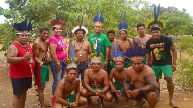 Ken Deputee and Aldean Big Hair Good Luck visited with the Brazilian Baikiri Nation in a village outside the games. The Baikiri offered the headpieces as gifts to Deputee and Good Luck, but they were unable to bring them outside of the country.