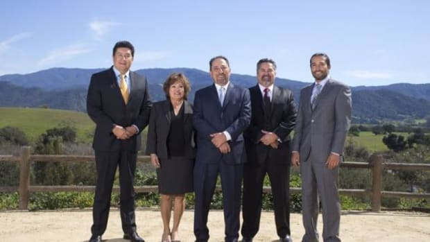 Chairman Vincent Armenta and members of the Santa Ynez Chumash Business Committee. From left to right: Mike Lopez, Maxine Littlejohn, Chairman Armenta, Secretary/Treasurer Gary Pace, and Vice Chair Kenneth Kahn.