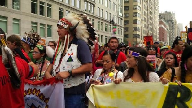 Indigenous activists and leaders poised to begin the People's Climate March on September 21, 2014.