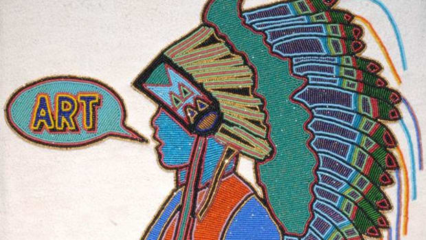 'NDN Art' (2008) by Teri Greeves. 'The image started as a pencil drawing of my youngest son, Nimkees Ankwaad,' Greeves explains. 'He is speaking the word ART, appropriated from the Roy Lichtenstein painting 'Art' (1962).'