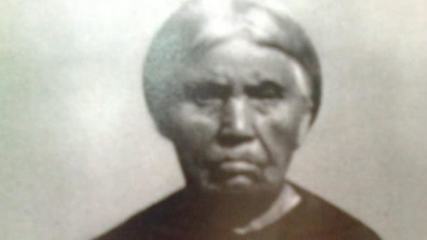 Cecelia Chanique (1842-1924) was from the Saanich Tribe on Vancouver Island. Her parents came to live with Chief Semiahoo near what is today Blaine, Washington. She is Ryan J. Barber's ancestor. (Courtesy Ryan J. Barber)