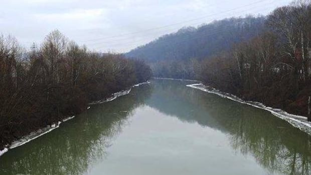 The Elk River, where 7,500 gallons of a chemical spilled and leached into the water supply of nine West Virginia counties. Freedom Industries, the company responsible for the spill, has admitted to a second chemical in the mix.