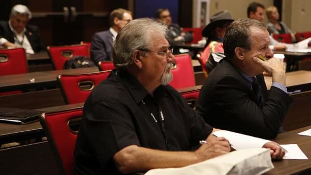 Attendees of the Western Indian Gaming Conference listen in on a water rights seminar at Harrah's Resort Southern California.