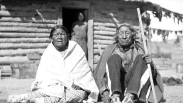 Ellen and Arthur Brady are shown at their home on the Northern Cheyenne reservation in Montana. They were in the Cheyenne camp along Sand Creek in southeastern Colorado at the time of the massacre in 1864 of Cheyenne and Arapaho people.