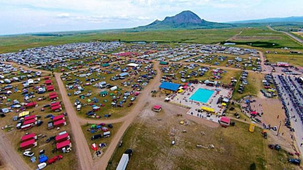 The new Full Throttle Saloon's plans call for construction of 400 cabins and RV hookups shown in the aerial photo at the base of Bear Butte.